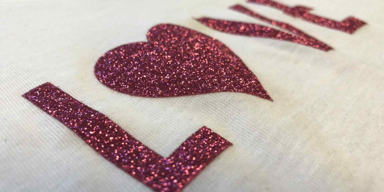 Screen print tshirt with glitter ink